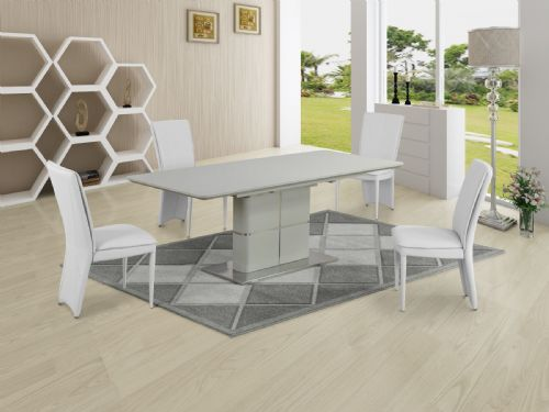 GA Porcelanosa Cream Dining Table & White 4, 6, 8 and 10 Chairs
